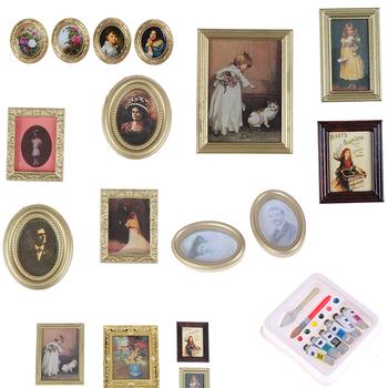 Gorąca sprzedaż 1 12 1 12 skala zdjęcia obraz olejny Mural obraz ścienny do 1 12 Dollhouse miniaturowe Miniaturas Casa De Munecas tanie i dobre opinie KittenBaby 8-11 lat Dorośli 5-7 lat 12-15 lat Żywica Doll house Frame Unisex