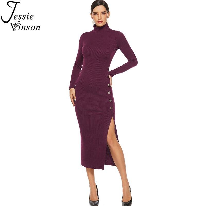 Jessie Vinson Plus Size Long Sleeve Turtleneck Side Split Knitted Dress Women Sexy Bodycon Sweater Rib Midi Dress Autumn Winter
