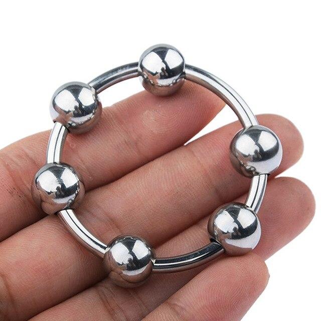 Metall Penis Ring Sex Spielzeug für Männer Verzögerung Ejakulation Edelstahl Cock Ring Mit 6 Perlen Eichel stimulator 2