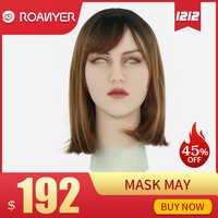 Roanyer kann maske latex sexy cosplay künstliche realistische haut silikon maske für crossdresser transgender männlichen transen Drag Queen