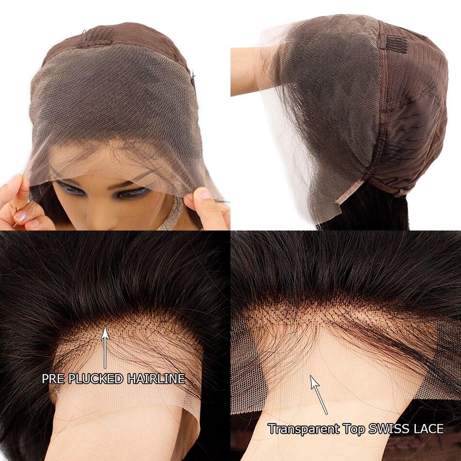 Прозрачные кружевные парики бразильские волнистые волосы на кружеве 13*4 кружевные передние человеческие волосы парики предварительно выщи... - 4