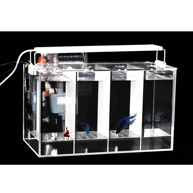 Fighting fish tank free water exchange isolation heating ultra white guppy breeding hatch 4 compartment tank