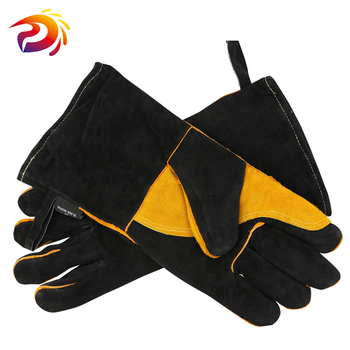 Long Leather Welding Gloves With Double Palm Thick Cow Split Leather Welder Heat Resistant Oven Working Glove alex clark rooster double oven glove