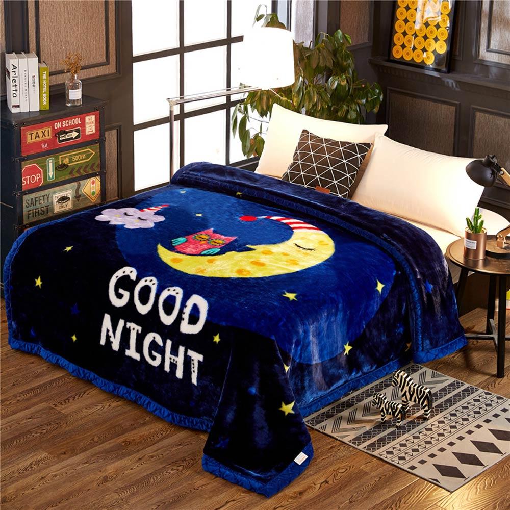 2019 bonne nuit bleu lune étoiles Double face hiver épais Raschel couvertures Twin pleine reine taille Polyester draps de lit