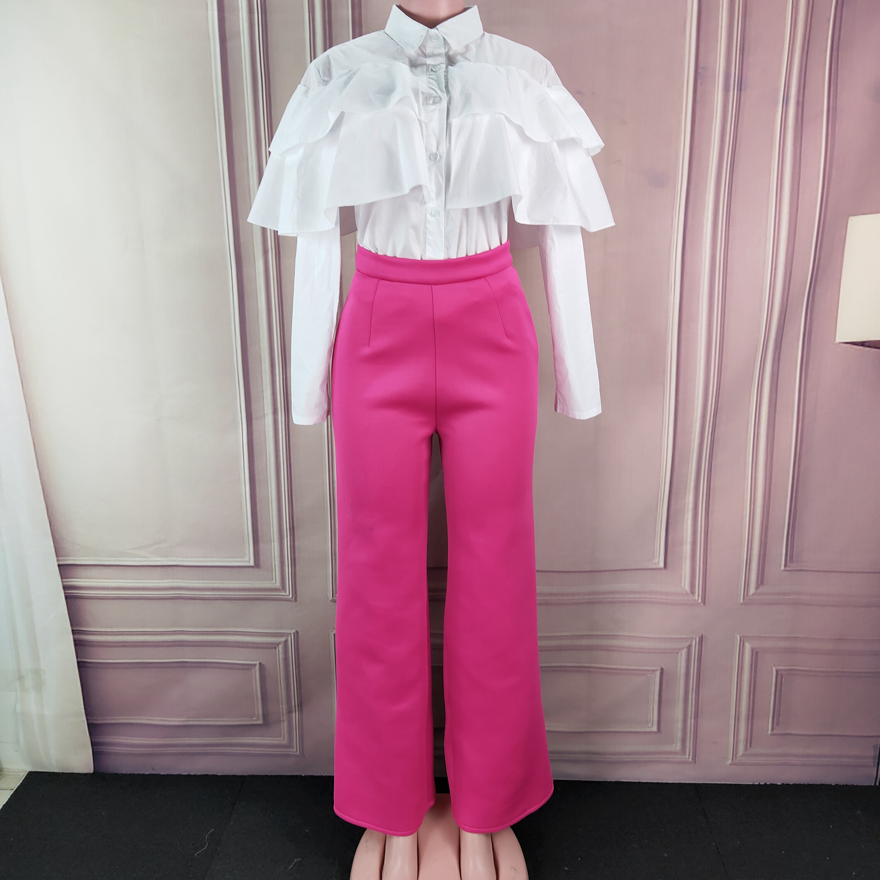 Women 2 Pieces Sets White Shirt Tops With Rose Red Wide Leg Pants Ruffles Elegant Office Ladies Work Classy Suit Modest Female