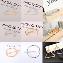 New Fashion Women Girls Gold/Silver Plated Metal Triangle Circle Moon Hair Clips Hairpins Holder Accessories