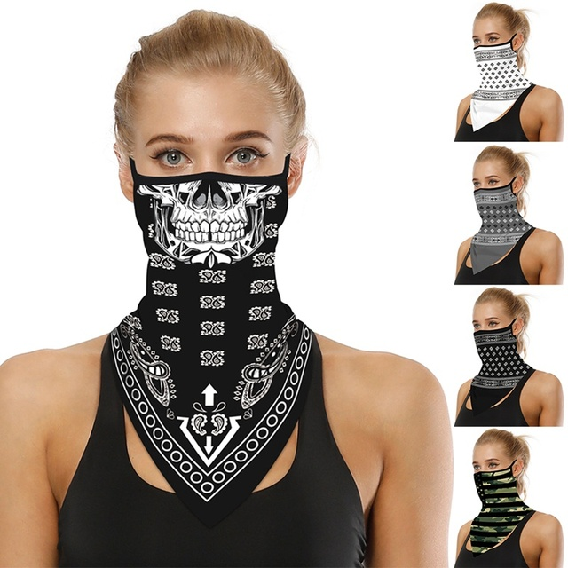 Riding Hood Digital Printed Summer Outdoor Sports Face Mask Sunscreen Breathable Face Hanging Ear Triangle Headscarf 3