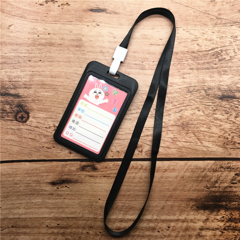 Unisex ID Card Holder Hard Plastic Badge Neck Strap Working Business Tag Name