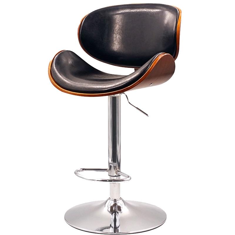Minimalist Bar Chair Solid Wood Back Nordic Bar Stool Home Modern Lift Rotating Front Desk High Stool Bar Stool