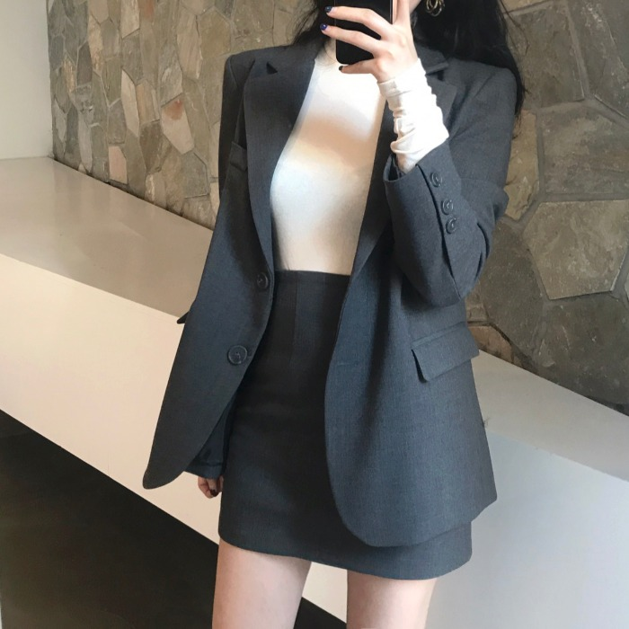 Gray Women Skirt Set 2019 Notched Casual Long Blazer Femme Jacket+Mini Pencil Skirt 2 Piece Ladies Autumn Winter Suit Streetwear