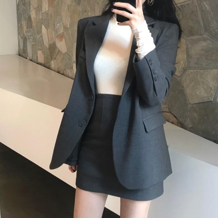 Gray Women Skirt Set 2019 Notched Casual Long Blazer Femme Jacket+Mini Pencil Skirt 2 Piece Ladies Autumn Winter Suit Streetwear
