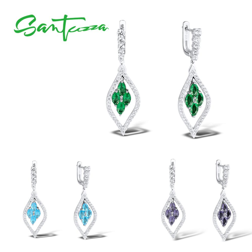 SANTUZZA Silver Earrings For Women Pure 925 Sterling Silver Sparkling Green Purple Blue Trendy Party Drop Earrings Fine Jewelry