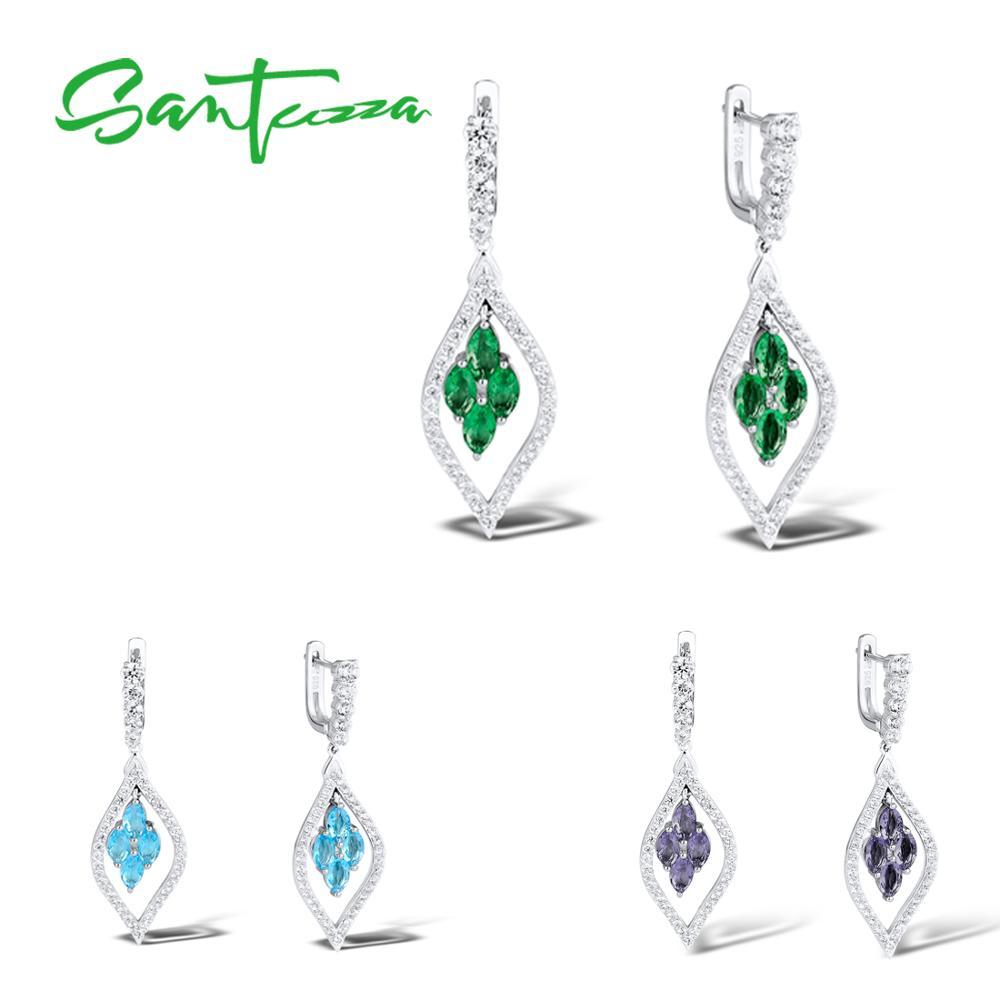 SANTUZZA Silver Earrings For Women Pure 925 Sterling Silver Sparkling Green Purple Blue Trendy Party Drop Earrings Fine Jewelry
