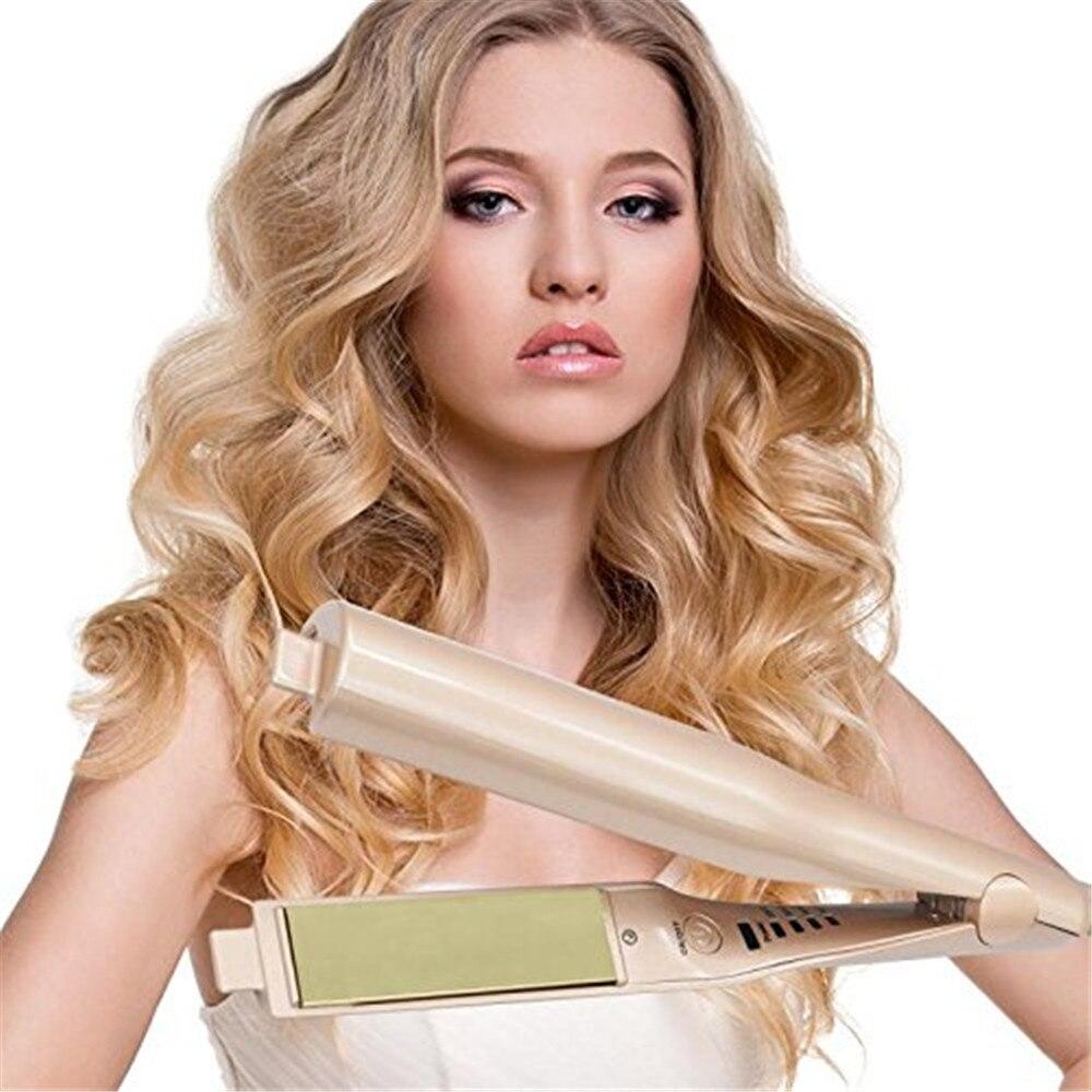 2 в 1 Pro керамическая для зерен кудри волшебный ролик для волос утюжок для волос стиль выпрямления Flat Iron Инструменты для укладки волос