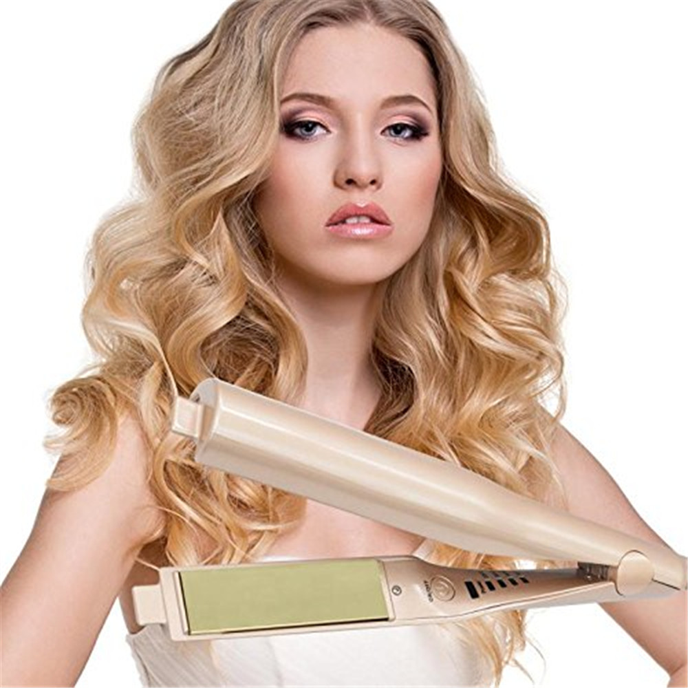 Ceramic Corn Roller Magic Hair Straightener Wand & Hair Curler 2 in 1 Style Straightening Flat Iron Hot Comb Straightener