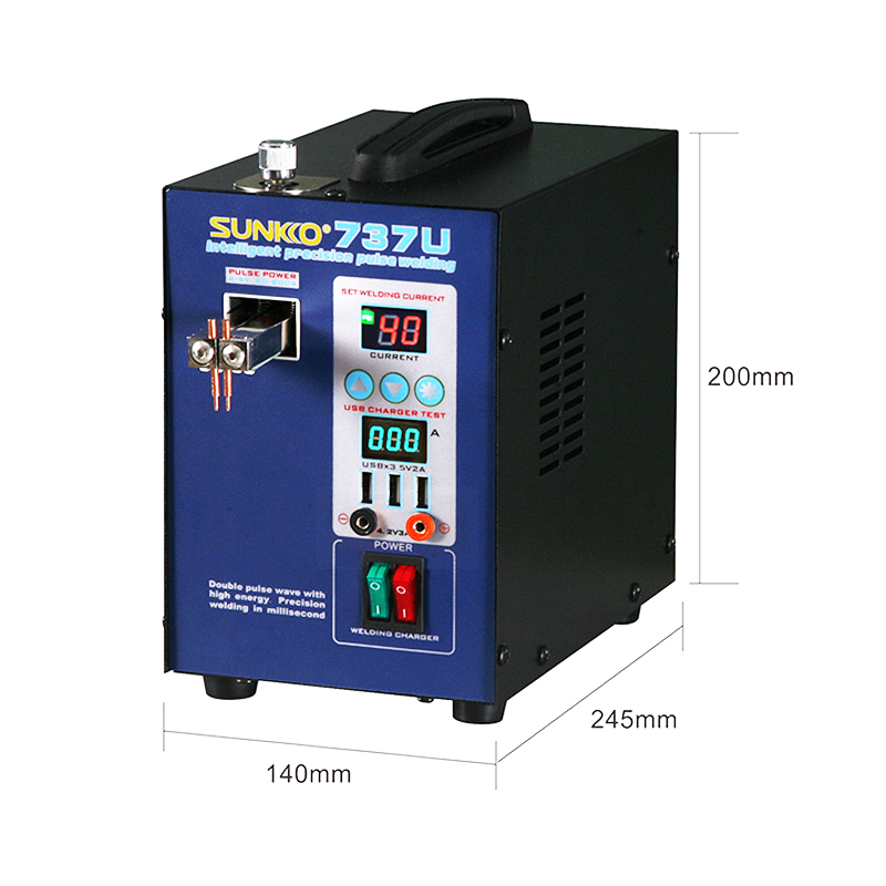 Battery With Machine Pulse Battery LED Charging 737U For 8kw Spot 18650 Welding Testing Light Pack Weld USB 2 Spot SUNKKO Welder