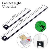 Lámpara de pared con Sensor de movimiento PIR, luz nocturna de aleación de aluminio, Ultra delgada, recargable, luz LED para armario, para cocina, escaleras, armario, 20/40CM