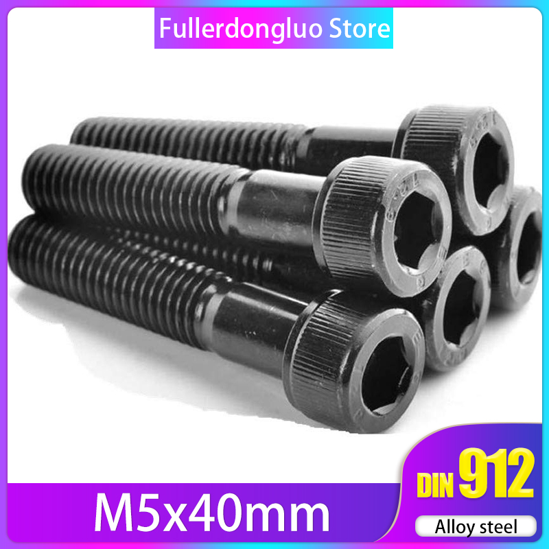 M5x40 25Pcs ISO 4762 Hex Drive Class 12.9 Black Oxide Finish Alloy Steel Socket Cap Screw ( <font><b>M5</b></font> <font><b>40mm</b></font> <font><b>M5</b></font> 40 M5x40mm Screw M5x40 <font><b>M5</b></font> image