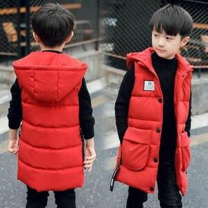 Image 5 - Baby boys waistcoat 2 13T kids long style warm vest baby girls spring cotton padded hooded children warm jacket teenage snowsuit