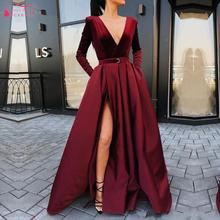 Новое поступление, вечерние платья с длинным рукавом, бархатные зимние женские вечерние платья с v-образным вырезом, бордовые атласные вечерние платья с Боковым Разрезом DQG999