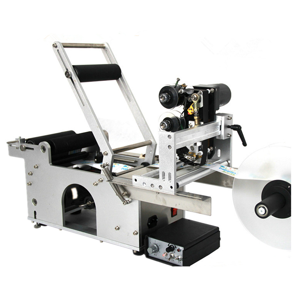 Semi automatic labeling machine with label printer for different size round bottle,round tank,round container