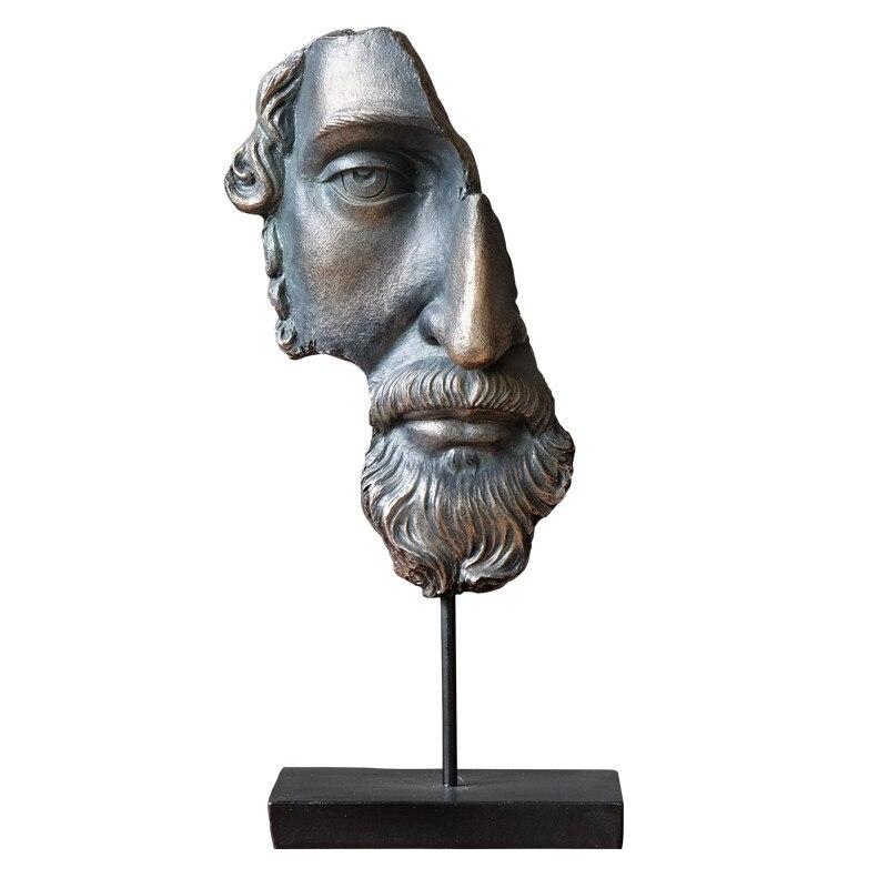 Résine demi visage Statue abstraite Statuettes Freud visage Prometheus masque visage Sculpture pour bureau Vintage décoration de la maison X3719
