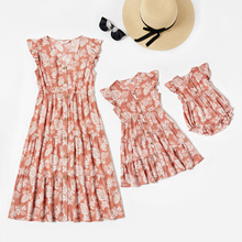 Sleeveless-Dresses Mommy Baby Dress Print Kids Me Tank Floral And Patpat for Woman Hem
