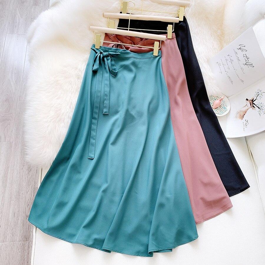2020 New Summer Women Beach Skirts High Waist A-line Skirts Women Casual Elegant Solid Skirts Women Sweet Jupe Femme Saias Mujer