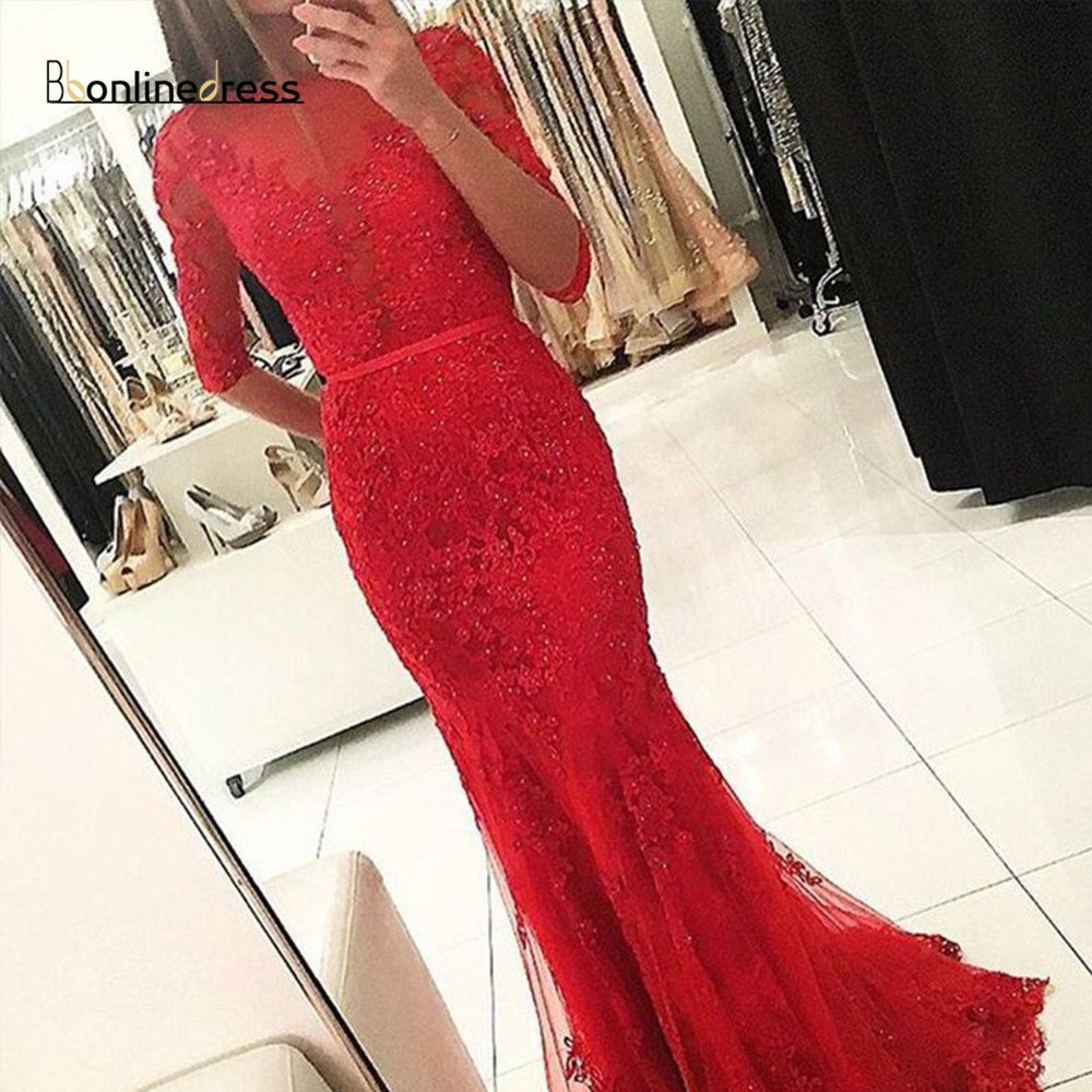 Elegant Red Mermaid Evening Dress Lace Beaded Full Sleeve Evening Dresses Long Charming Formal Party Gown robe-de-soiree