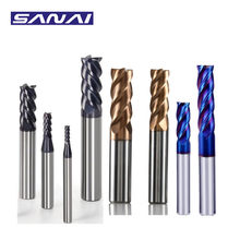 SANAI End Mill 4 Flutes HRC50° HRC55° HRC65°Tungsten Carbide Steel Milling Cutter 1mm to 20mm 4F End Mill CNC Lathe Cutting Tool