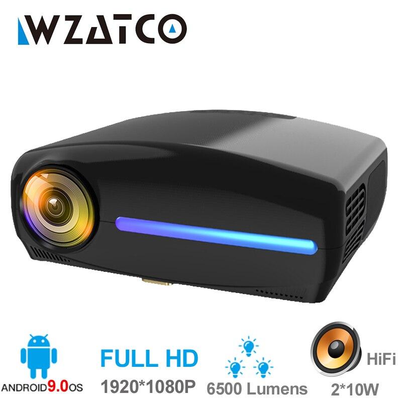 WZATCO C2 1920*1080P Full HD 45 graus keystone Digital LED Projector android 9.0 Wifi Opcional Portátil Em Casa proyector Beamer