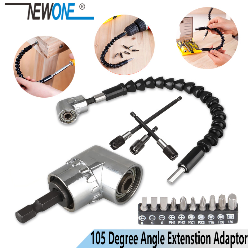 Adjustable 105 Degree Right Angle Driver Screwdriver  Tools Set 1/4 Hex Shank For Power Drill Screwdriver Bits Tools