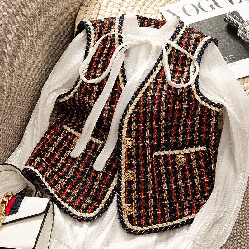 Runway tweed jacket coat vest women 2019 autumn fashion red V neck sleeveless jacket female ladies elegant retro clothes