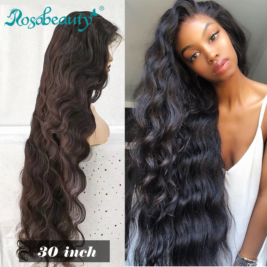 Rosabeauty 28 30 Inch 13x6 Lace Front Human Hair Wigs 250% Density Brazilian Body Wave Frontal Wig Pre Plucked With Baby Hair