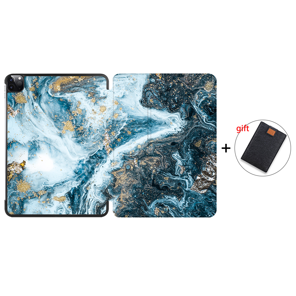 IP05 Green MTT 2020 Marble Tablet Case For iPad Pro 11 inch A2228 A2231 PU Leather Magnetic Fold