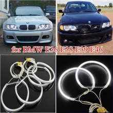 4Pcs For BMW E36 E38 E39 E46 LED Light CCFL Angel Eyes Kit Warm White Halo Ring 2600LM 131mm for Bmw Accessories