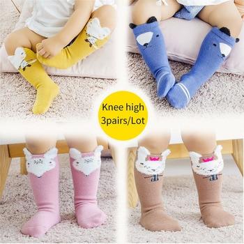 3pairs/lot Unisex Baby Socks for toddler Newborn kids infants Winter long socks warm fox cartoon animal Pattern Boy girl