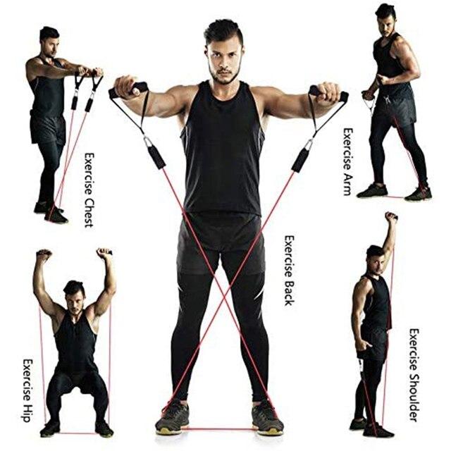 11 Pcs Elastische Resistance Bands Yoga Pull Touw Fitness Workout Sport Bands Yoga Rubber Treksterkte Pull Touw Expander Gom Elastica