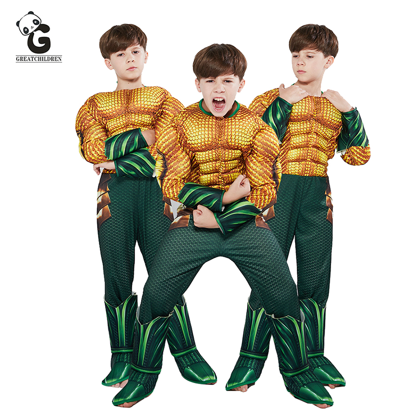 Aquaman Costumes for Kids Halloween Costumes for Kids Boys Muscle Sponge Superhero Costumes Aquama Cosplay Party Dress Jumpsuits 1