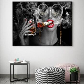 Pintura abstracta moderna de la lona de arte creativo quemando dinero fumadores de pared de nubes imágenes artísticas Cuadros para la sala de Decoración de casa