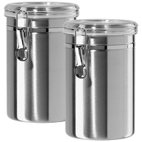Airtight Canisters Sets for the Kitchen Stainless Steel   Beautiful for Kitchen Counter  Medium 64 Fl Oz  Food Storage Container w Puszki na herbatę od Dom i ogród na