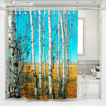 Shower Curtain Polyester Fabric Bath Birch Forest Washable Home Decor Waterproof Curtains Blue 3D douchegordijn