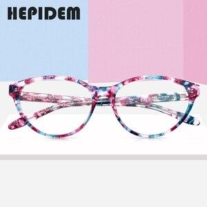 Image 2 - アセテート光学眼鏡フレームの女性のブランドデザイナーキャットアイ処方メガネ新キャットアイ眼鏡眼鏡9111