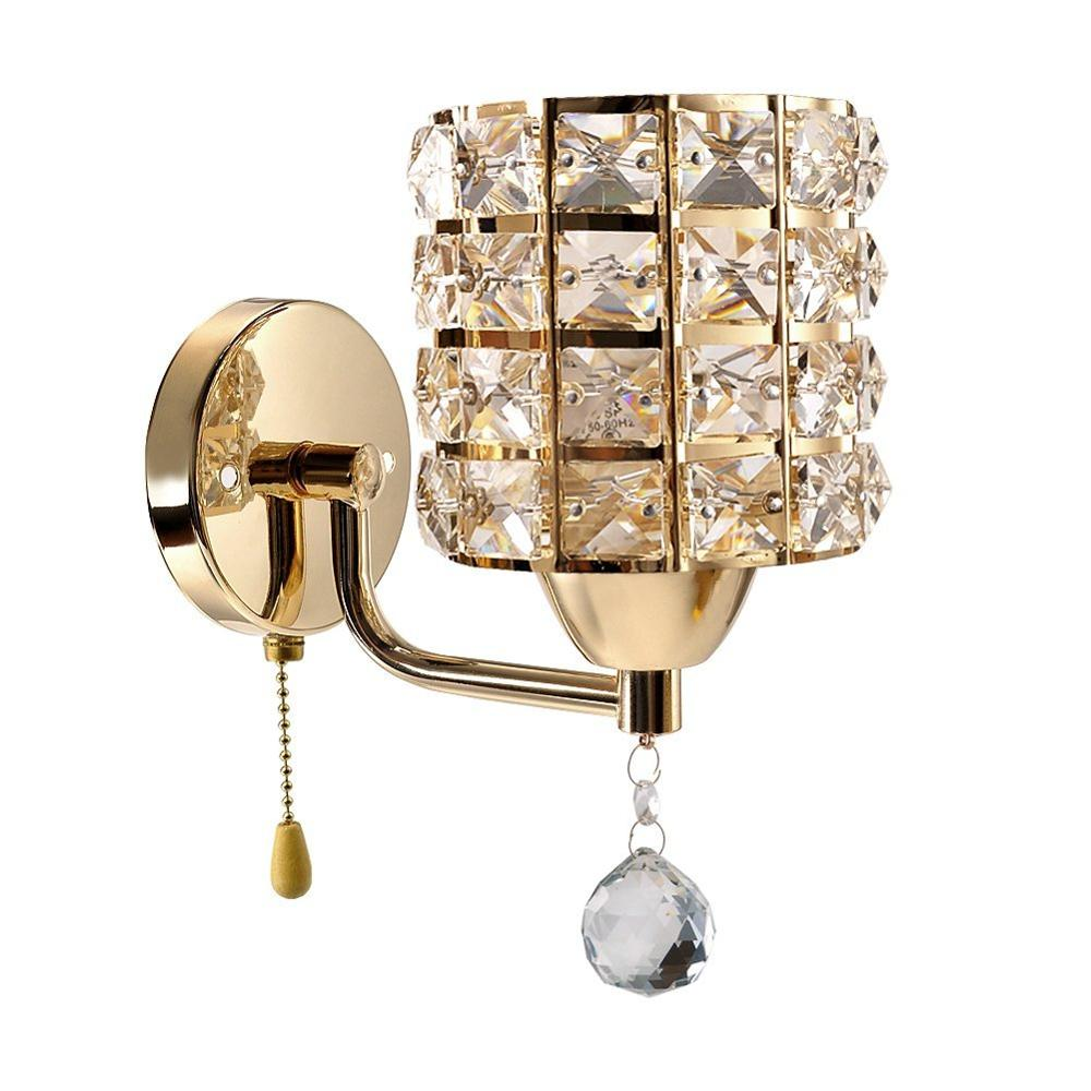 AC85-265V Pull Chain Switch Crystal Wall Lamp Lights Modern Zipper Stainless Steel Base Lighting Wall Sconces Lamparas De Pared
