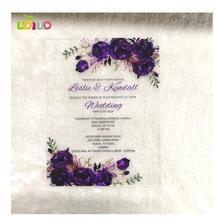 Красивый романтический фиолетовый цветок акриловый пригласительный билет на свадьбу дешевые Пригласительные открытки оптом