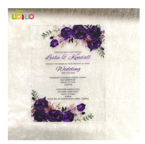 Nice Romantic Purple Flower Acrylic Invitation Card Wedding Favor Cheap Invitation Card Wholesale