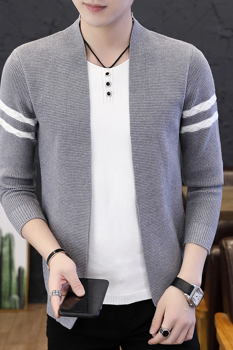 2021 Men's Autumn Striped Sweater Youth Fashion Casual Sweater 4