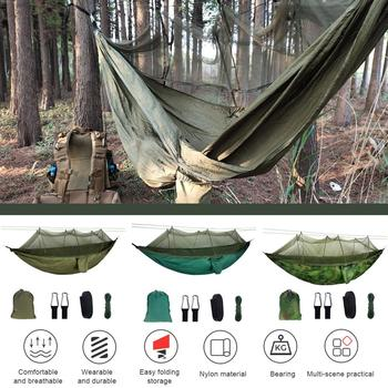 1-2 Person Portable Outdoor Camping Hammock with Mosquito Net High Strength Parachute Fabric Hanging Bed Hunting Sleeping Swing super strength folding nylon hammock hanging swing hamak beach camping patio sleeping tree bed with 2 strap 2 carabiner