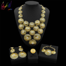 Yulaili Fashion Gold-color Flower Pendant Necklace Earrings for Women Party Wedding Accessories Dubai Jewelry Sets Wholesale