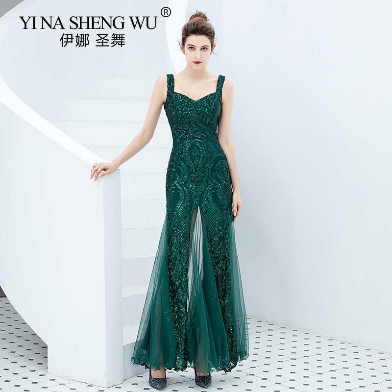Novo verde esmeralda vestido longo sereia lantejoulas cintas de espaguete baile de formatura ilusão abiye gece elbisesi vestido de festa longo